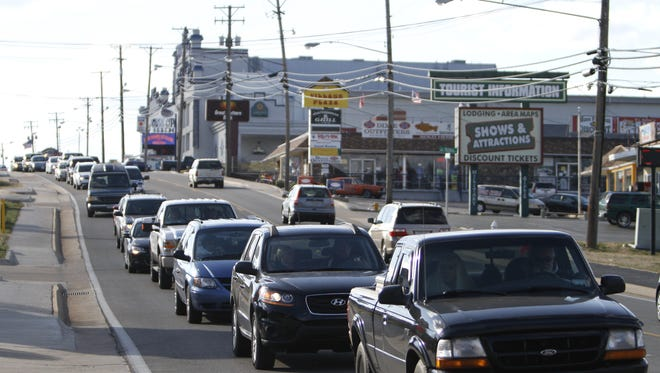 Traffic backs up on Highway 76, the Branson strip, in 2012. A coalition of Branson public and private entities plans to revitalize a five-mile stretch of the highway over the next eight years.