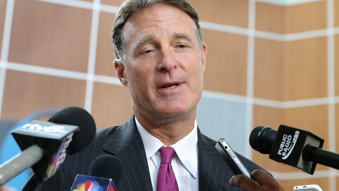 Evan Bayh, former US Senator, talks about US Attorney Joe Hogsett announcing his resignation from office at the end of the month. Bayh was on Monument Circle Monday afternoon at the Emmis Communication building and stopped to talk to the local media. Matt Kryger / The Star