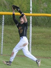 Hagerstown's Owen Golliher tracks down a flyball in center field during Friday's game vs. Centerville.