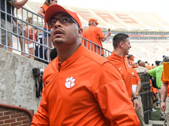 Clemson co-offensive coordinator Tony Elliott during the the spring game in Memorial Stadium in Clemson on Saturday, April 14, 2018.