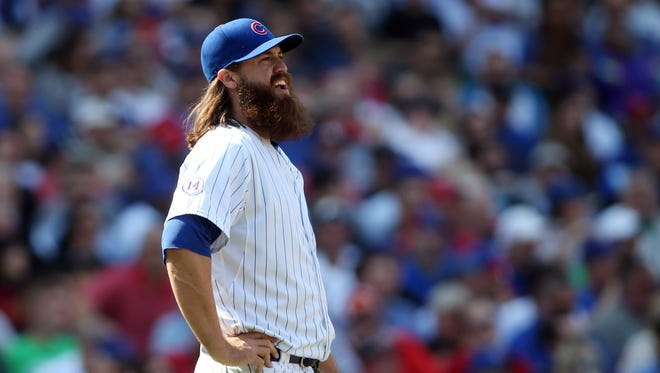 Chicago Cubs relief pitcher Brian Schlitter reacts during the game against the San Diego Padres at Wrigley Field.