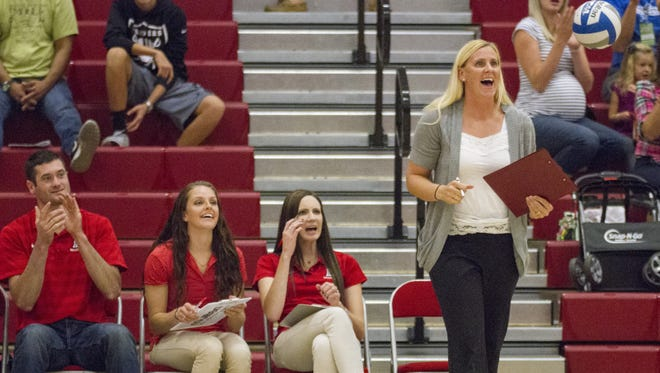 Dixie State head coach Robyn Felder calls out a play during a volleyball game. Felder, a two-time PacWest Coach of the Year, returns for her sixth season as the Trailblazers look to get back to the NCAA Tournament.