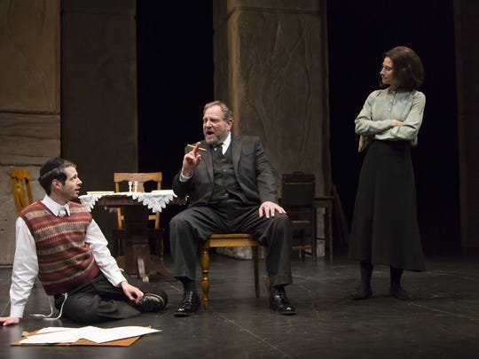 "Miles G. Jackson (left), Bob Ari and Lena Kaminsky in ""My Name Is Asher Lev."""
