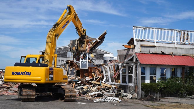 Little Jack's Seafood Restaurant, overlooking the Hampton marsh for decades, north of Boar's Head, was demolished Wednesday by V. Lessard and Sons Contractors.