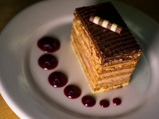 The Chef's Corner opera cake: layers of vanilla roulade with mocha-based buttercream frosting.