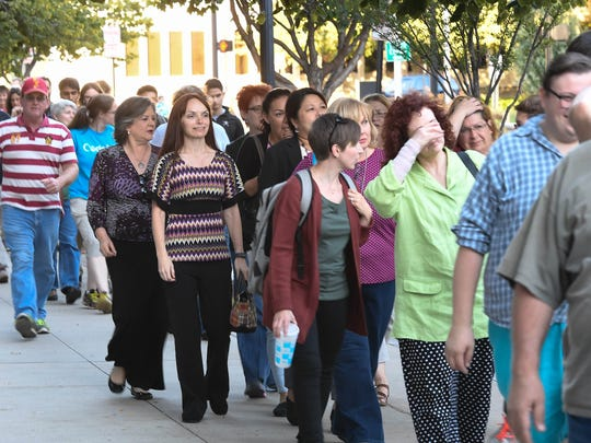 Hundreds of fans line up to listen to Star Trek actor, social media personality and LGBT activist 79 year-old George Takei at the Victory Theatre Tuesday, September 27, 2016.