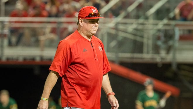 Cajuns coach Tony Robichaux is shown at a game this season at Russo Park.