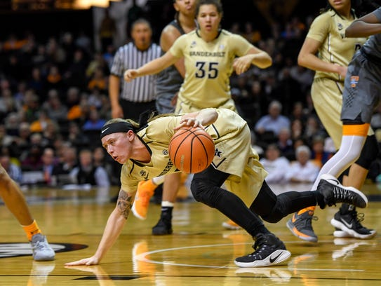 Vanderbilt Commodores Rachel Bell (3) regains the ball