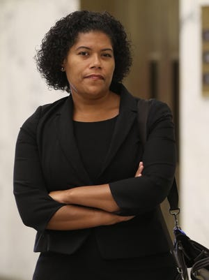 City Court Judge Leticia Astacio, 34, waits outside the courtroom before her hearing Thursday on a DWI arrest in February.