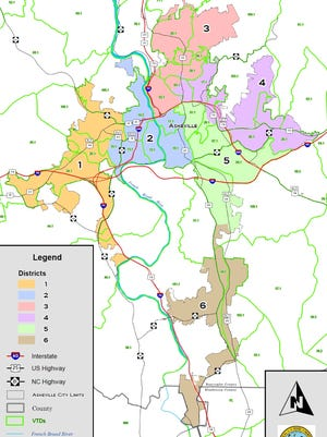 This map shows districts for Asheville City Council considered by the General Assembly last year.