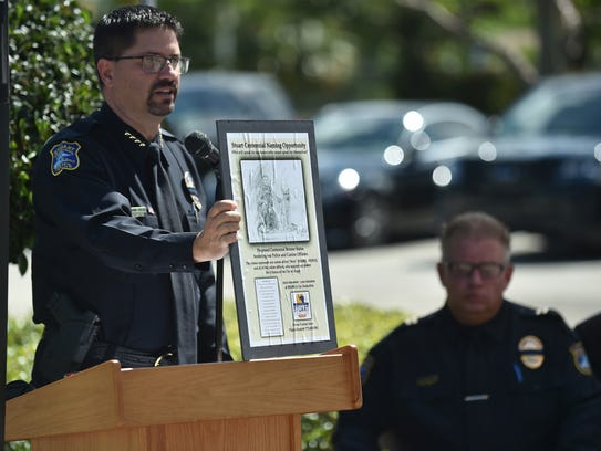 Stuart Police Chief Dave Dyess speaks at the Martin County Law Enforcement Officers Memorial Service and K-9 Memorial statue unveiling at the Stuart Police Department, 800 S.E. Martin Luther King Jr. Boulevard, on Tuesday, May 15, 2018, in Stuart. Dyess was named interim city manager on Monday, May 21, 2018.