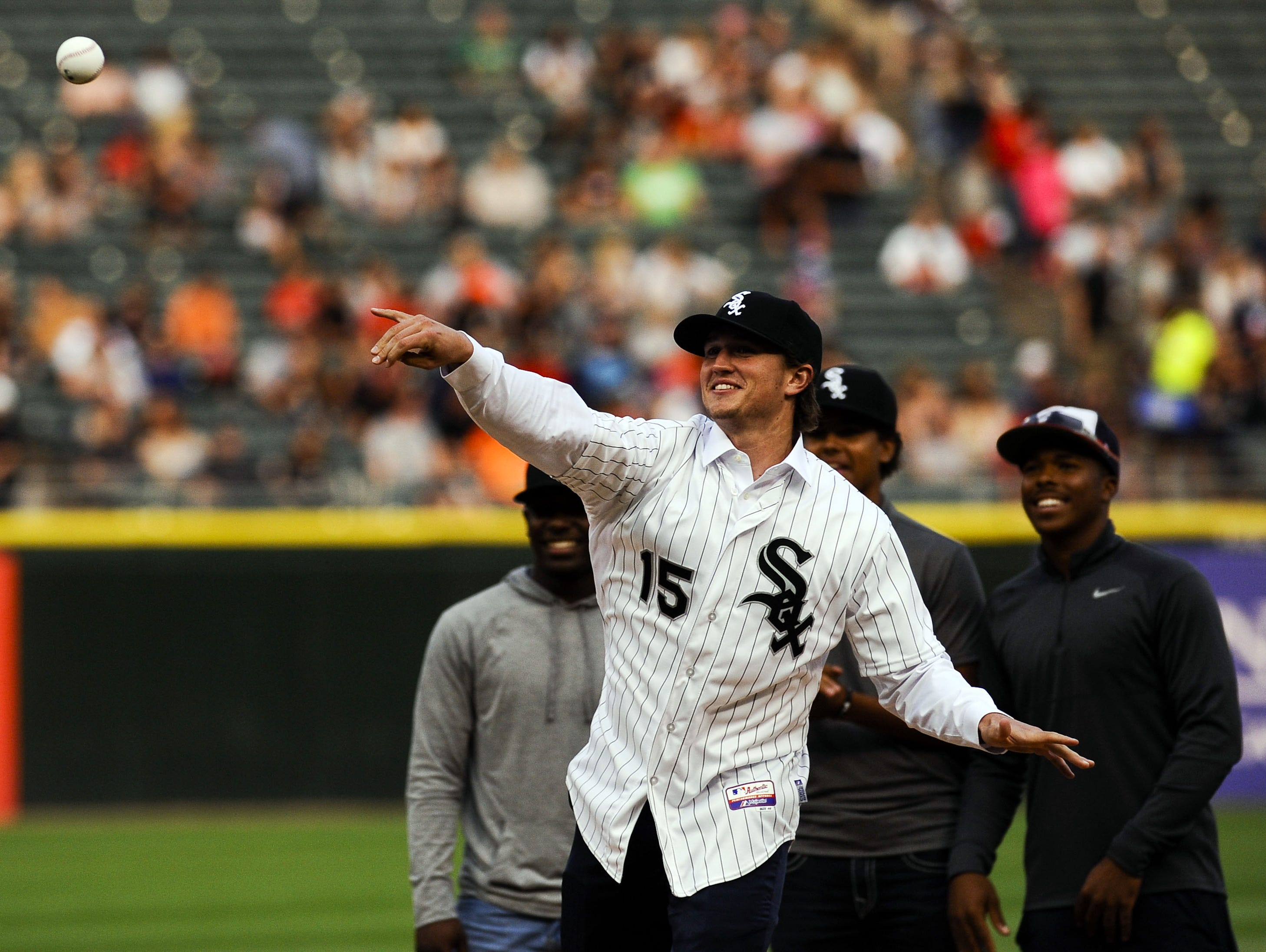 Former Vanderbilt pitcher Carson Fulmer throws out a ceremonial first pitch before the Chicago White Sox's game against the Baltimore Orioles on Friday.
