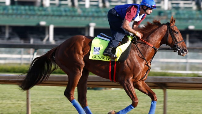 Kentucky Derby entry Gunnevera galloped over the Churchill Downs track. April 25, 2017.