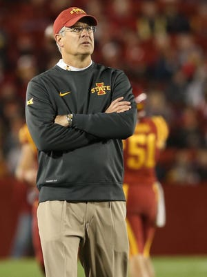 Oct 17, 2015; Ames, IA, USA; Iowa State Cyclones head coach Paul Rhoads coaches his team against the TCU Horned Frogs at Jack Trice Stadium. The Horned Frogs beat the Cyclones 45-21. Mandatory Credit: Reese Strickland-USA TODAY Sports