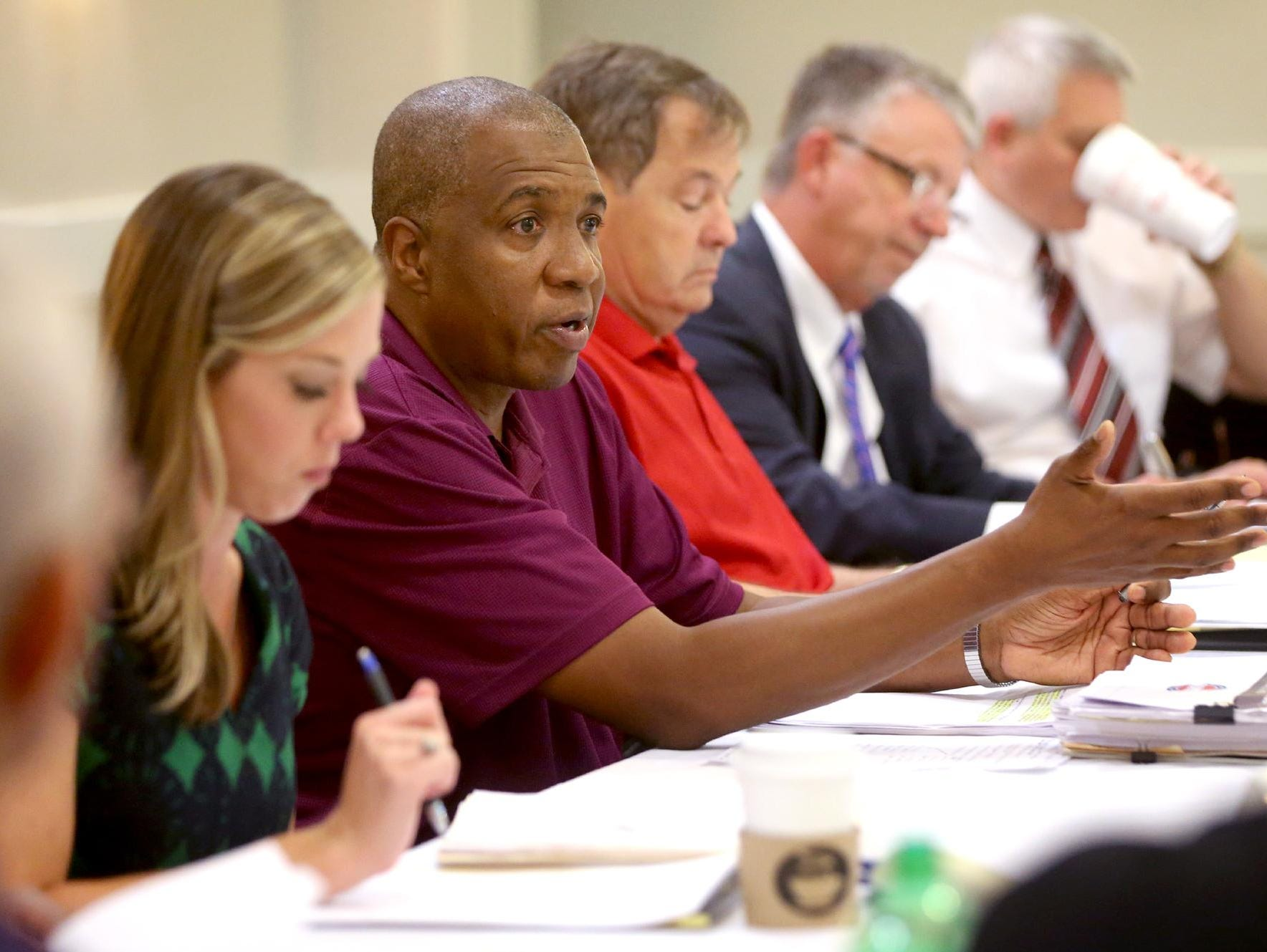 TSSAA Executive Director Bernard Childress answers questions during the TSSAA Legislative Council Meeting held at the DoubleTree Hotel, in Murfreesboro, on Thursday, July 16, 2015.