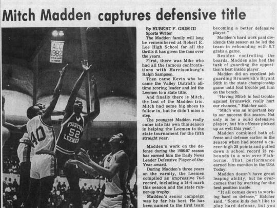 Mitch Madden was announced as part of the Robert E. Lee-Booker T. Washington 2018 Hall-of-Fame class.