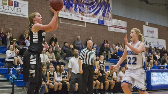 Pine View's Claire Newby scores at the end of the third quarter in a game earlier this season.
