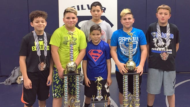 Team Silver placers at the Showdown include, from left, are Derrick Lopez, Luke Sandoval, Cade Aguirre, Gavin Aguirre, Landon Sandoval and Logan Aguirre.