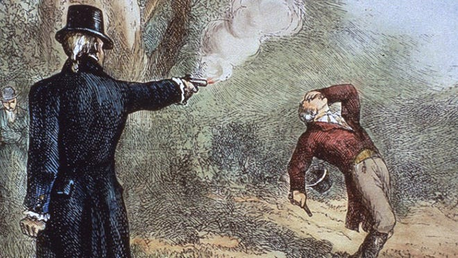 Vice President Aaron Burr, left, fires the fatal shot to Alexander Hamilton during their duel in 1804.