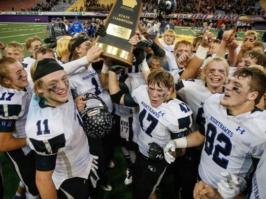 Members of the Boyden Hull/Rock Valley football team celebrate a win over Union on Friday, Nov. 18, 2016, during the 2016 Iowa high school Iowa Class 2A football championships at the UNI-Dome in Cedar Falls.