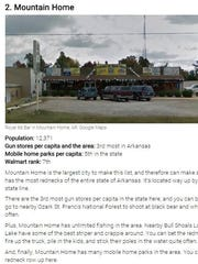 Pictured is a screen grab of Mountain Home's listing by roadsnacks.net on the most redneck cities in Arkansas.