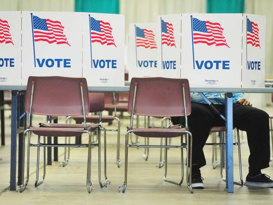 Voters gather at Exhibition Hall for Montana's primary election on Tuesday.