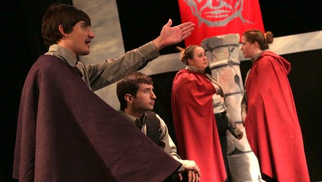 Brandon Smith and Isaiah Corso-Phinney, play Julius Ceaser and Marc Anthony respectively, during a rehearsal of The Tragedy of Julius Caesar at Founder Auditorium in The Ohio State Mansfield campus.