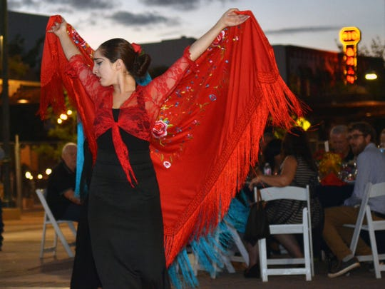 """Nicolle Cuaron of the dance group """"Sol ey Arena"""" from NMSU performs a Flamenco dance during the opening night of Salsa Fest held at the Downtown Plaza Friday night.  Photo taken 9/30/16."""