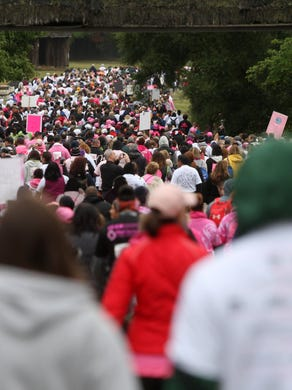 2015: Walkers file through the safari at Six Flags Great Adventure during the Susan G. Komen Race for the Cure, Sunday, October 4, 2015, in Jackson.