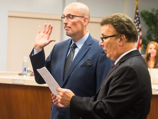 Tom Ulrich is sworn into the Vineland Public School