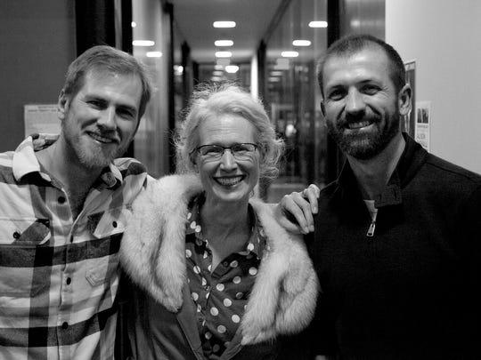 Tommy Hunter, left, filmmaker Allison Bagnall, center, and Andrew Sherburne, right, at a FilmScene Vino Verite event.