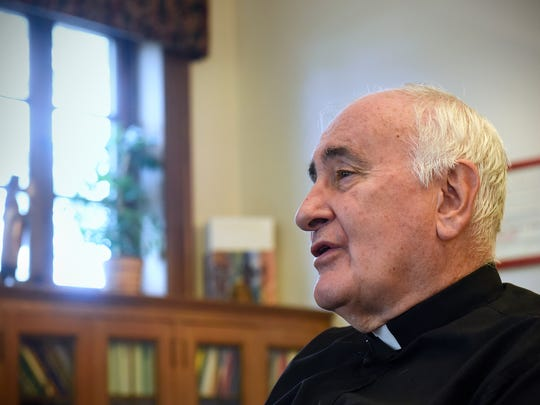 Bishop Donald Kettler talks about his hope for the peace in the future in light of the recent attack at Crossroads Center during an interview Tuesday, Sept. 20, in St. Cloud.