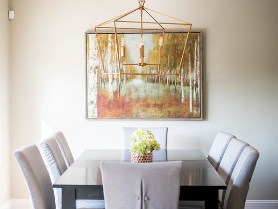 Light fixtures and art pieces are often used when staging