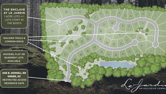 """Lots under an acre in the Le Jardin development  -- most between 0.4 and 0.6 acres --  will cost between $100,000 and $150,000, while """"enclave"""" lots one acre and larger will be in the low $200,000 range."""