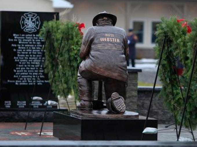 The West Webster Fire Department dedicated the West Webster Fallen Firefighters Memorial behind their firehouse on Sunday morning, December 22, 2013.  The memorial honors fallen firefighters David J. Clapp, William C.Bostian, Michael J. Chiapperini and Tomasz M. Kaczowka.