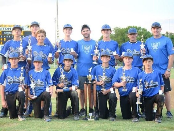 The Mountain Home Blue Devils recently won the USSSA 13-and-under AA State Tournament in Bentonville. They went 7-0 over the weekend at the 28-team tournament. Team members are: first row, from left, Trey Jordan, Jason Dupchak, Josh Prinner, Tanner Burnham, Dylan Poush, Miles O'Brien; second row, Asa Smith, Jim Strider, Ben Pointer, Satch Harris, Will Gross; third row, coaches Aaron Burnham, Jerry Prinner and Lance Gross.