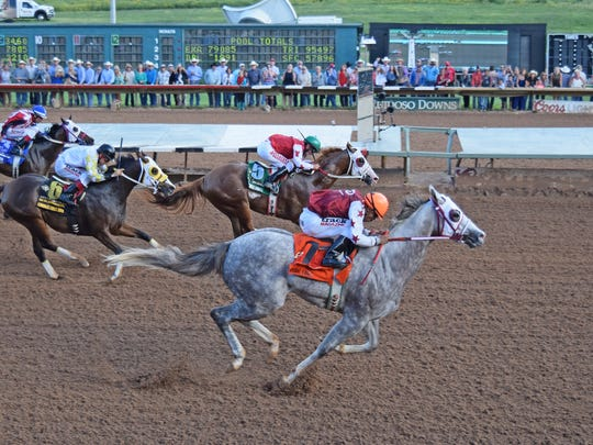 Imperial Eagle (gray) and The Marfa Lights finish first and second in 2016 Grade 1, $3-million All American Futurity.