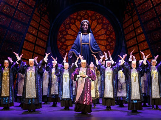 """The nuns' costumes in """"Sister Act"""" go from drab to fab as part of an evolving process in the stage musical. The touring show plays the Weidner Center on Monday night."""