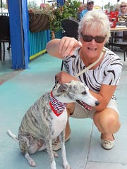 Sally, a rescue whippet was a new invited guest as this was her first year on Capri. Her owners Karin (pictured here) and Devik Harald are from Sweden and are year-rounders who say they love Capri.