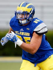 Delaware tight end Charles Scarff takes off on a route