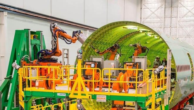 Kuka robots at a Boeing plant  Anacortes, Washington.