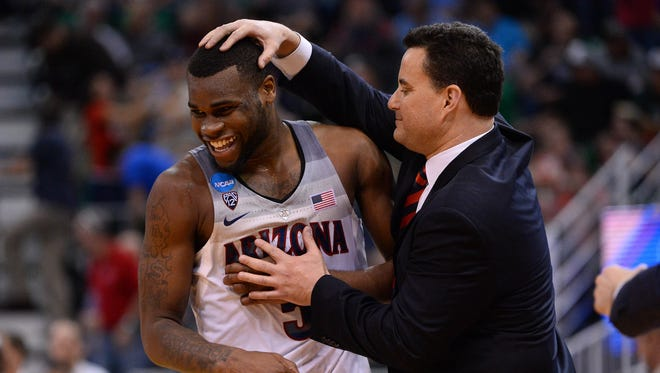 March 18, 2017: Arizona Wildcats Arizona Wildcats guard Kadeem Allen (5) and head coach Sean Miller react during the 69-60 victory against the Saint Mary's Gaels second half in the second round of the 2017 NCAA Tournament at Vivint Smart Home Arena.
