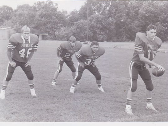 Notre Dame starting backfield in 1989 included quarterback Jason Habetz (19), along with backs Jude Sittig (46), Chad Morrow (24) and Tiger Mire (32).