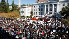 A protest at Sproul Plaza on the campus of the University