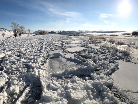 Ice jams on the Gallatin River.