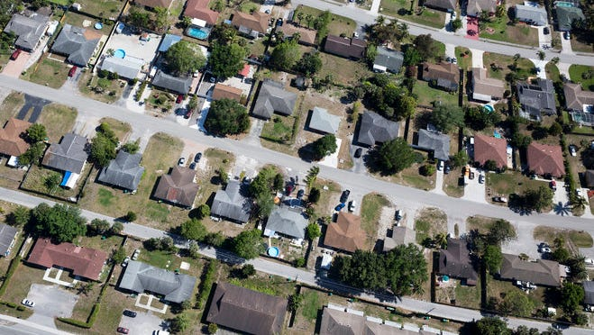 From overhead, Golden Gate City transforms into a gridlock of sprawling suburbia just north of I-75 in Naples.