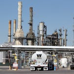 A Western Refining fuel-tanker truck pulls up to the fuel terminal at the company's refinery at 6501 Trowbridge in Central El Paso.