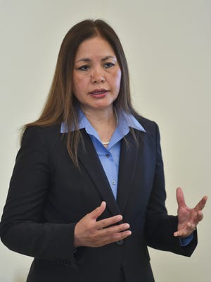 Alicia Limtiaco, a former U.S. Attorney for Guam and the Northern Mariana Islands, is announced as chairwoman of the board for Hope and Healing Guam during a press conference at the Hilton Guam Resort and Spa in Tumon on April 23, 2017.