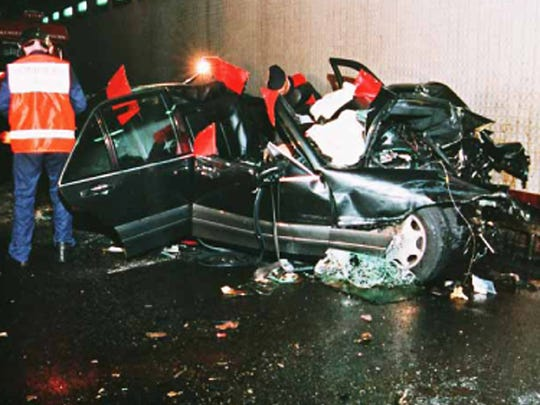 The wreckage of the 1994 Mercedes S-Class in which