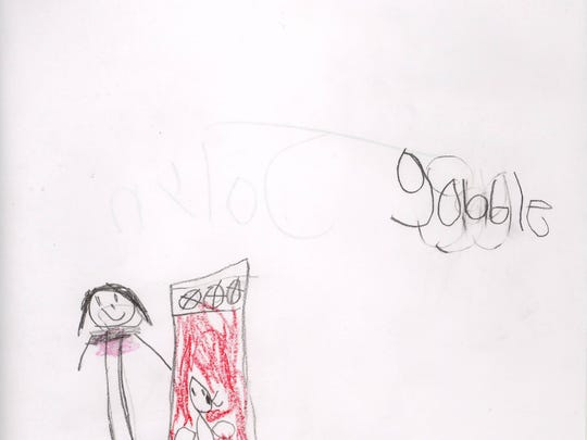 """""""How to cook a turkey"""" drawing by Albany Elementary kindergartner Jalyn."""